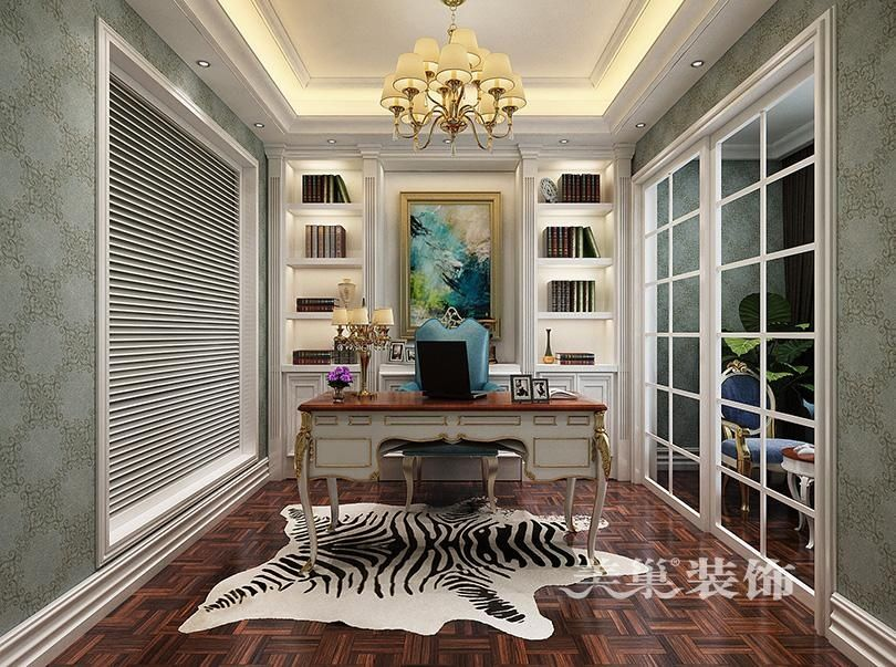 郑州绿都温莎城邦别墅欧式新古典装修效果图--书房
