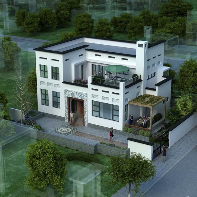平屋顶现代四合院别墅图片