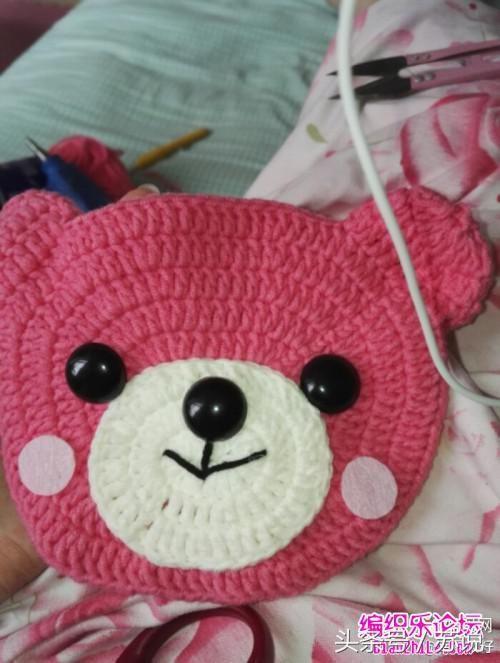 超详细钩针编织教程,儿童小熊挎包手工钩编diy,宝妈孕
