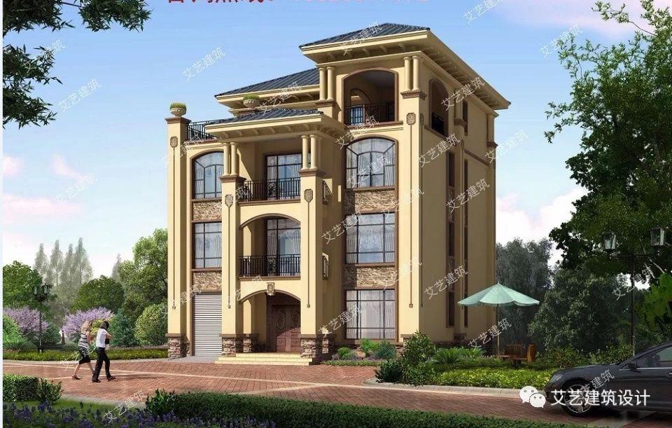 四层农村别墅外观采用文化石和真石漆装饰,窗户设计的都比较大,采光