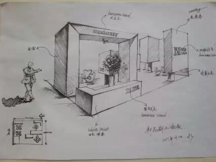 大黄蜂展览案例分享-展台设计手稿图