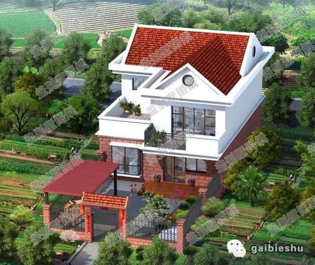 20万911米带庭院农村两层房屋设计图