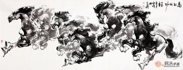 陈云鹏国画动物画八骏图作品《马到成功》