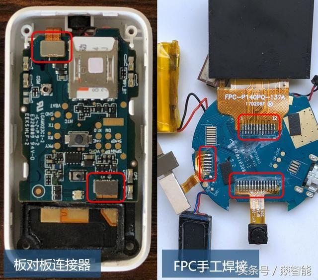 小米定位器的电路板上,usb座子,led灯,按键,电源,sim卡座,喇叭麦克风