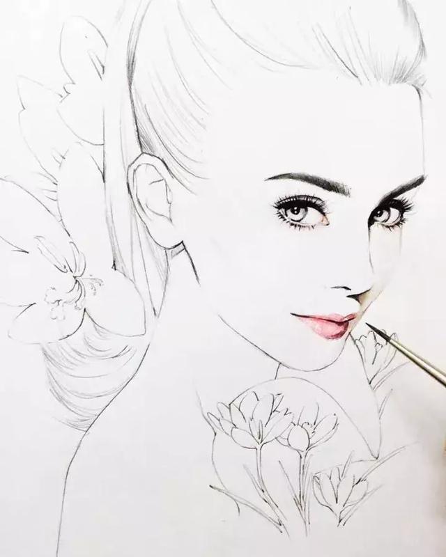 口红等知名品牌的化妆品 嘴巴塑造过程: 准备材料:水溶性彩铅 高光笔