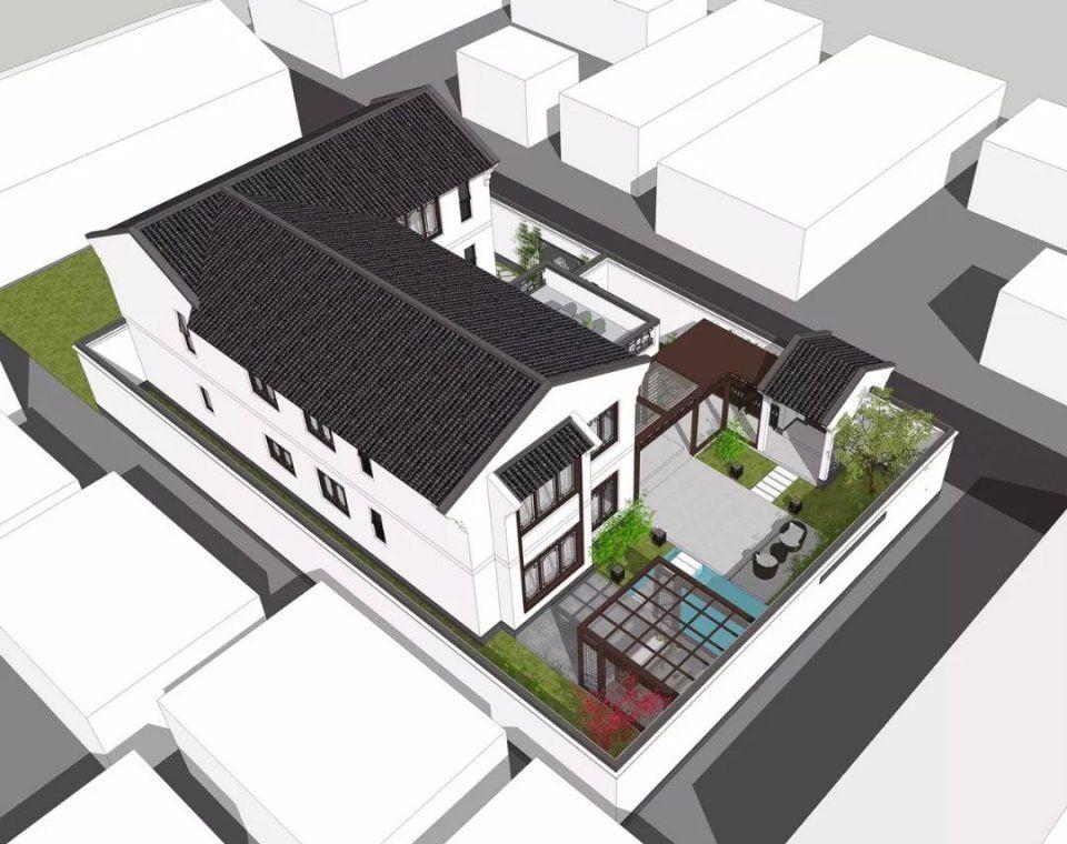 本次推荐的两层新中式别墅,占地170㎡,别墅立面材质选用白色真石漆为
