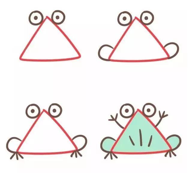 三角形创意简笔画,从画画中学习形状,发散思维,培养宝宝好奇心图片