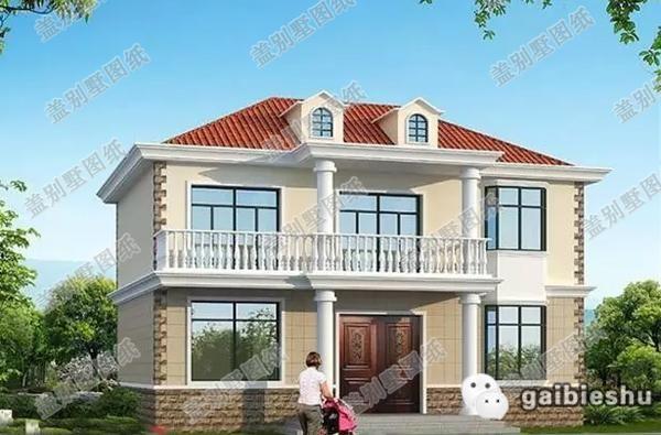 这款二层农村别墅设计图纸现代清新,白色圆柱与宝瓶柱栏杆时尚大气