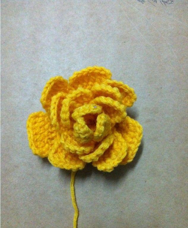 花朵编织/钩针编织立体花朵图解,记录详细编织过程,比
