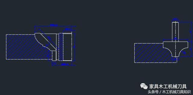 65个木工刀具CAD设计图纸,绳子铣刀和镂字体立轴铣刀设计图片