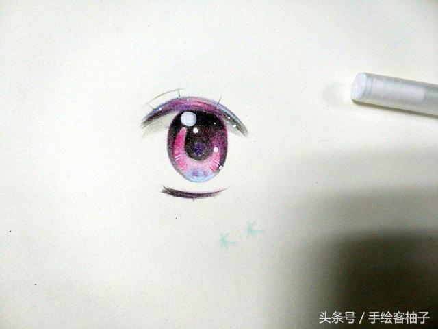 原创手绘彩铅眼睛教程