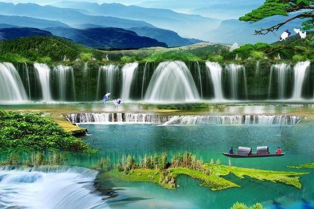 壁纸 风景 旅游 瀑布 山水 桌面 640_427