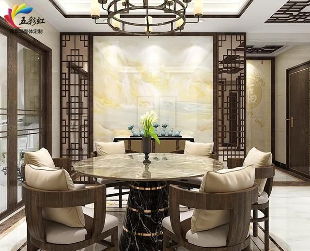 1,新中式实木边框餐厅背景墙设计效果图