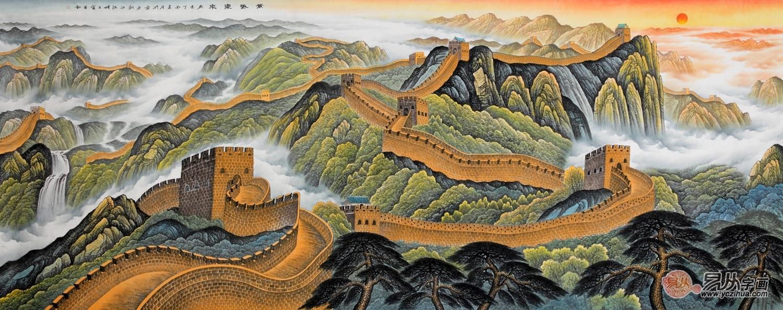国画欣赏之王宁手绘真迹万里长城画解析