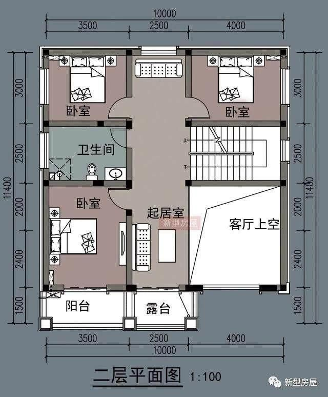 此户型开间10米,进深12米,共7个卧室,主卧带卫生间和衣帽间.