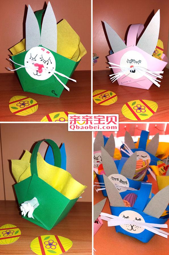 幼儿兔子纸篮制作过程