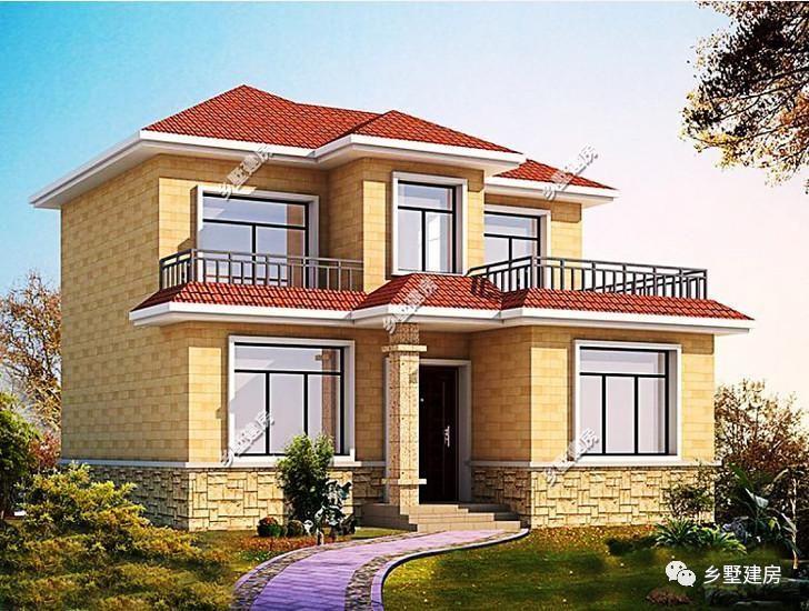 农村自建别墅二 坡屋顶搭配红色琉璃瓦设计,两层小别墅开间10米,进深
