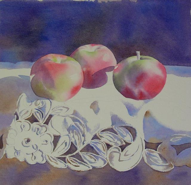 水彩静物写生进阶教程桌台上三个红绿苹果