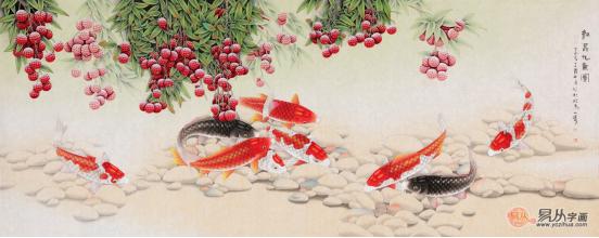 这是一幅工笔画荷花鲤鱼图.
