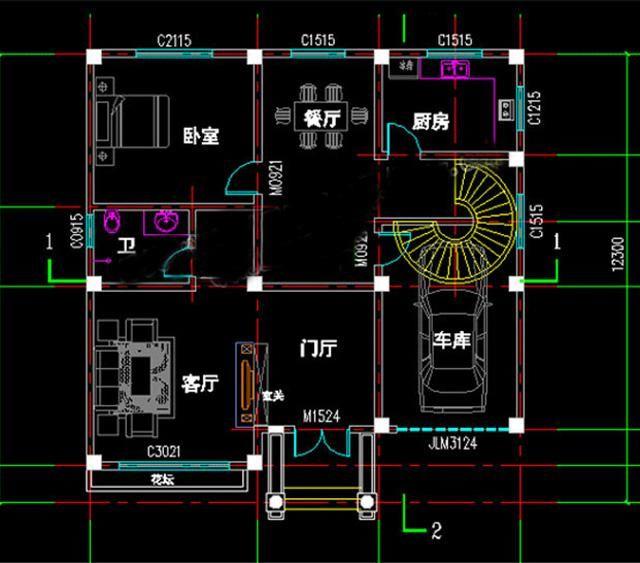 12x12米三层复式挑空客厅欧式别墅设计图施工图(带建成实景图)