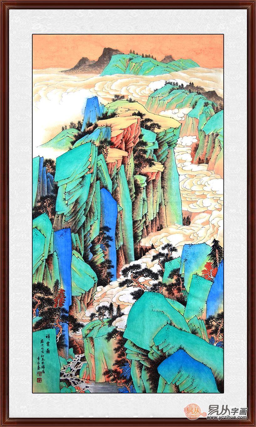 许吉尔老师最新创作的工笔重彩山水画,这幅作品墨色浓厚,山石层次极