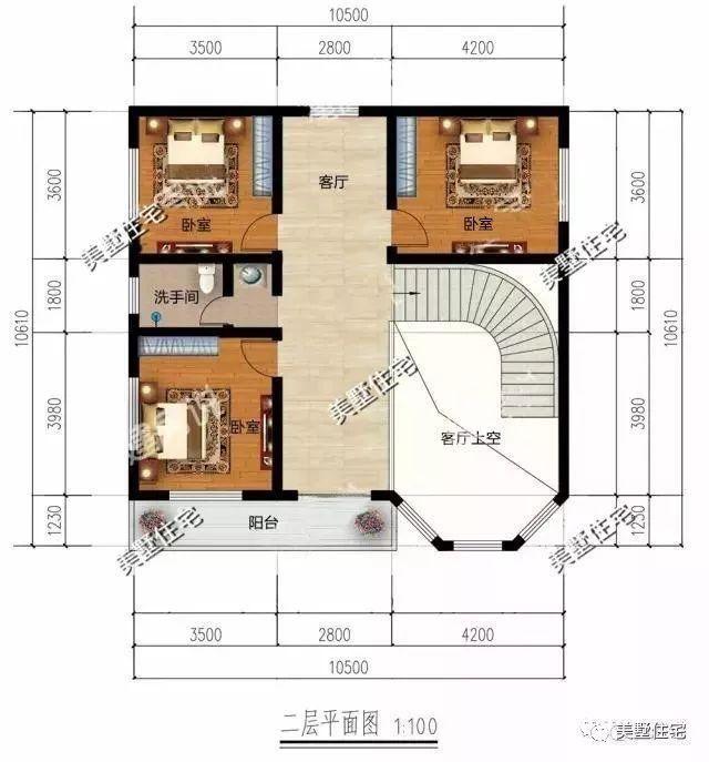 二层平面图:设有客厅,3卧室,卫生间,中空客厅,阳台