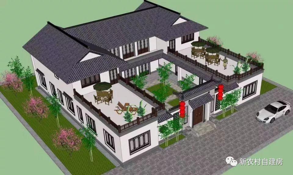 2款四合院别墅设计,只要有地,农村家家都建得起图片