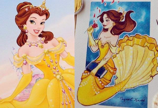当迪士尼公主变成手绘美人鱼,艾莎公主超好看,花木兰有点心累!