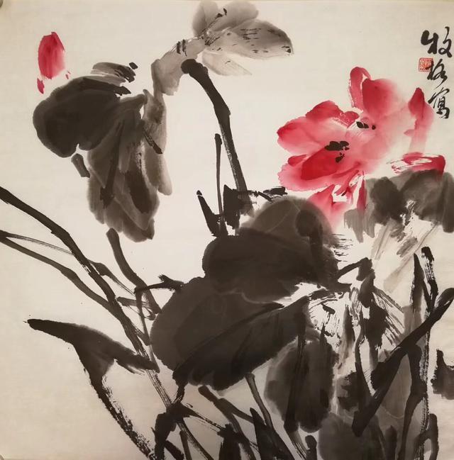 青年女画家牧格大写意荷花系列作品欣赏图片