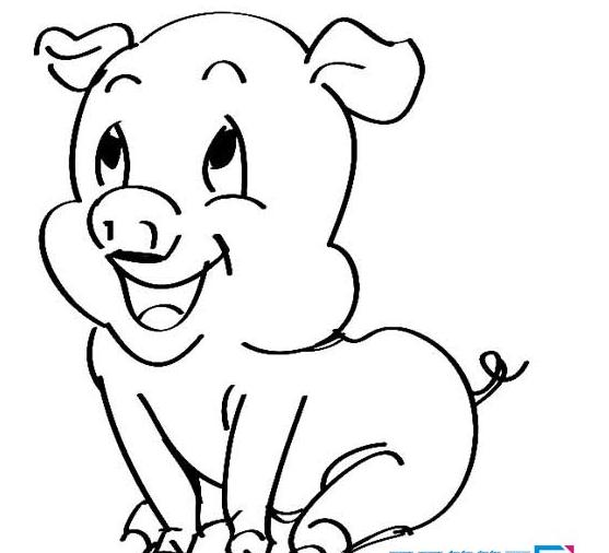 卡通小猪简笔画图片简单又可爱,让我们一起来画吧!简单一笔