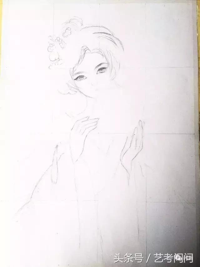 中国古风美女水彩画教程