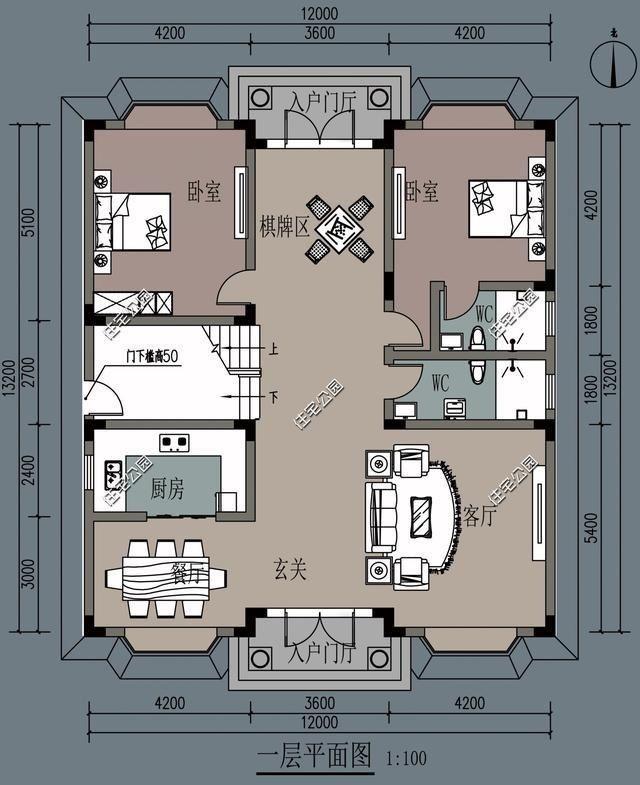 户型一:面宽12米,进深13.2米,三层农村别墅