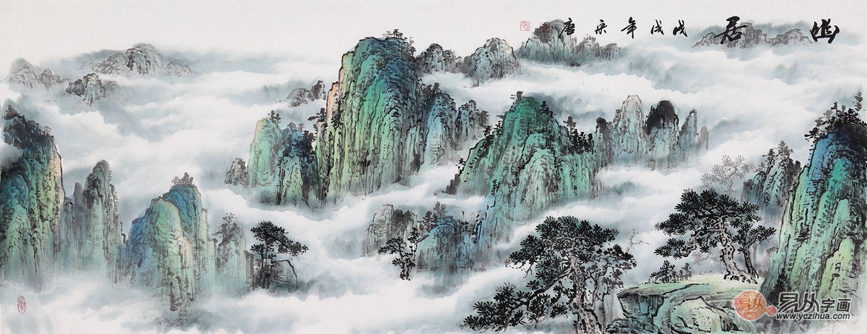 四,办公室挂山水画聚福又旺财 泰山是五岳至尊,是中华民族的象征,是图片