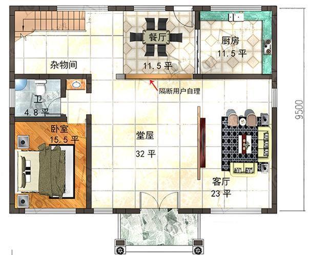25万占地130平方米带堂屋农村二层房屋设计图图片