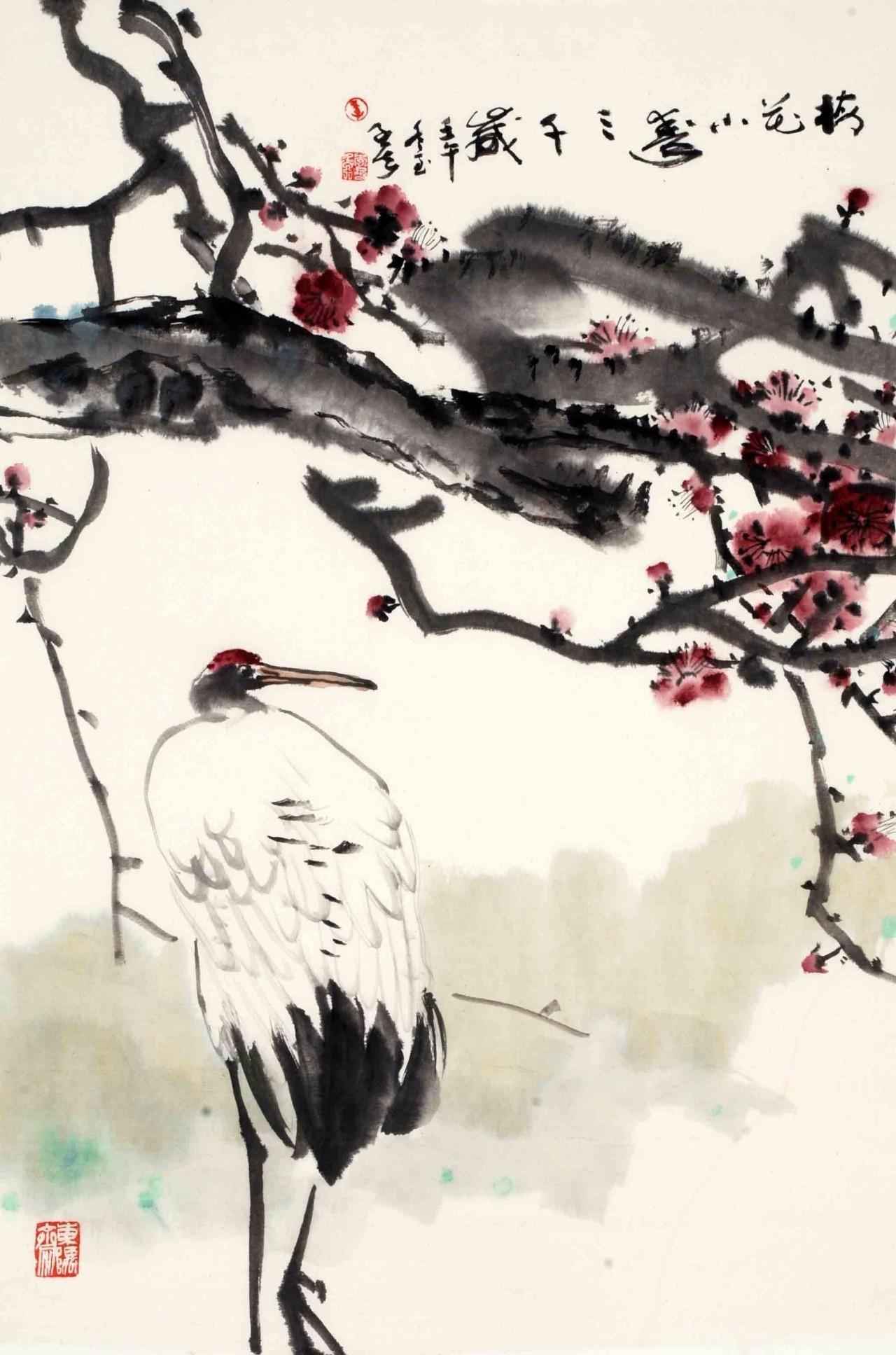 浙派意笔画代表人物之一 李子侯写意鹤作品之一