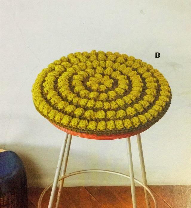 来一个爆米花针的蓬松圆形坐垫,详细图解和说明,来看吧