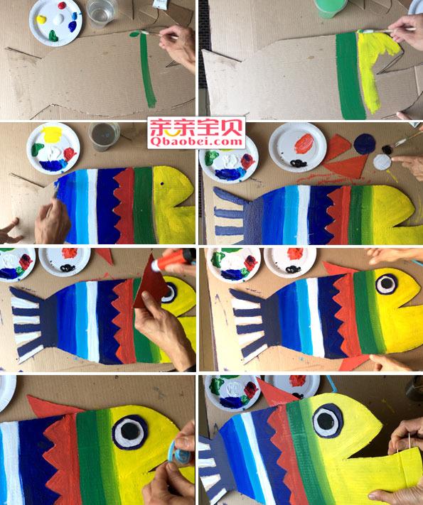 剪出两个小三角当做鱼鳍,扭扭棒卷起来固定在鱼头当装饰,牙签插在鱼嘴