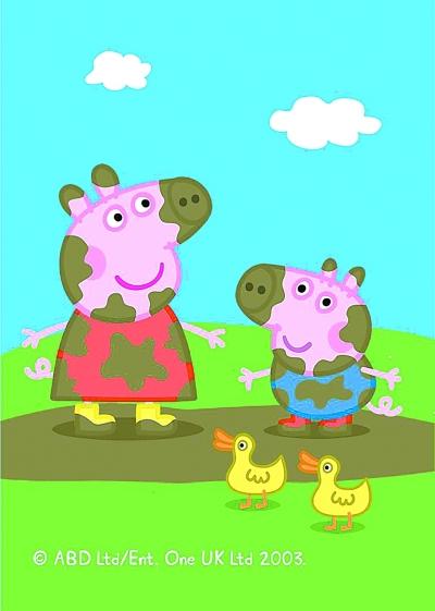 在风靡全球的动画片《小猪佩奇》第一集中,小猪佩奇和弟弟乔治在水坑
