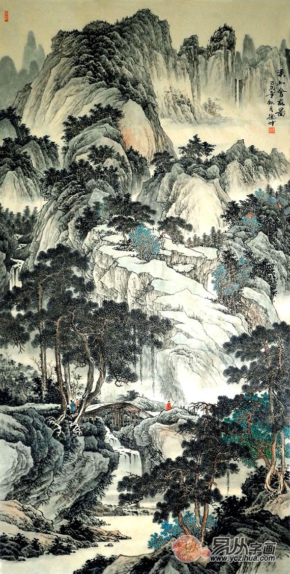 国画名家林德坤竖幅写意山水画艺术 仁者乐山 智者乐水