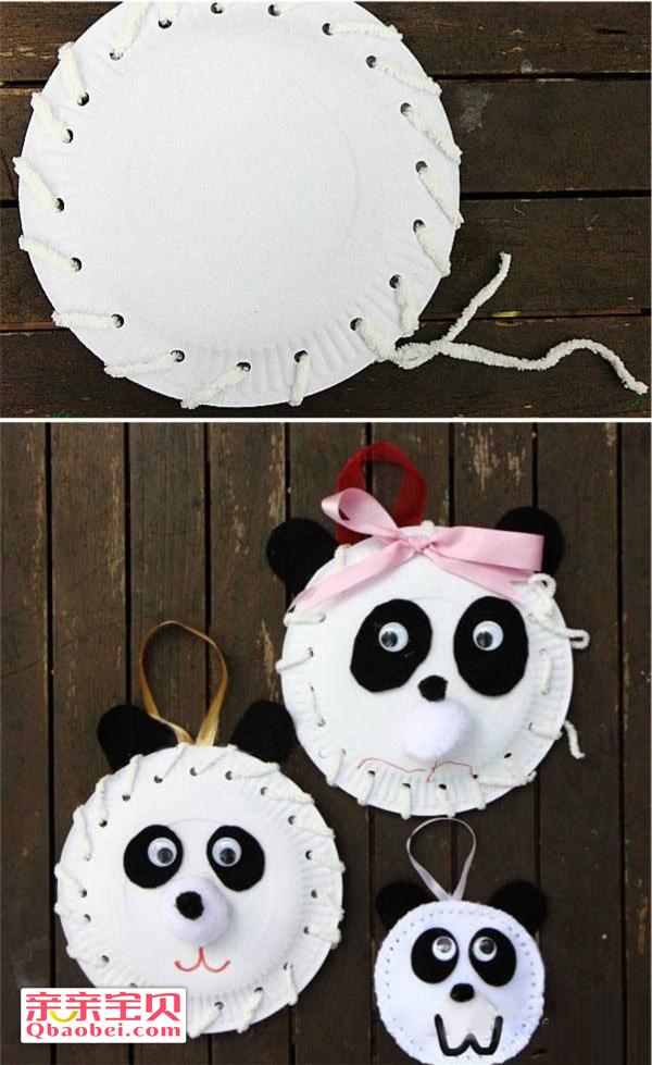 纸盘可爱熊猫挂饰手工制作
