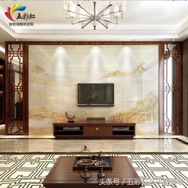 6,新中式花格边框搭配微晶石电视背景墙整体装修效果图