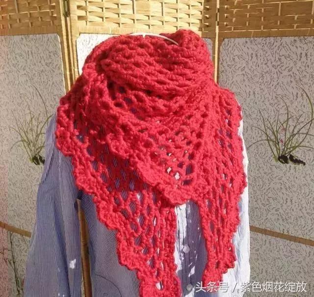 纯手工编织三角围巾,披肩,简约,独特优雅