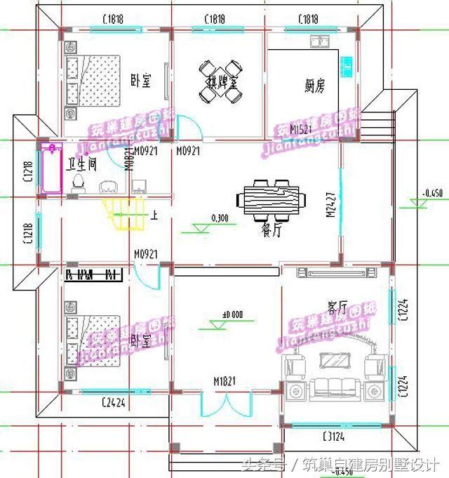 别墅效果图 一层:大客厅,厨房,餐厅,卧室x2,棋牌室,楼梯间,卫生间
