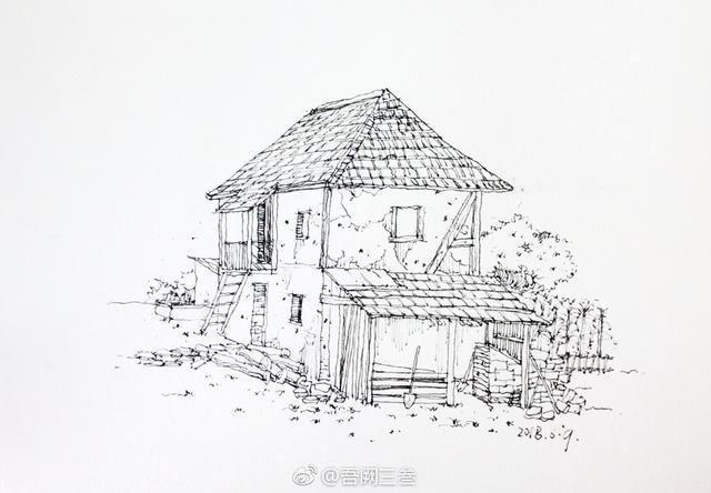 画者给小木屋添加了窗户,增加了通透感.