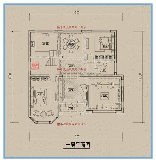 平面设计图纸 二层设置主卧套房及次卧室 本期农村自建房案例展示到