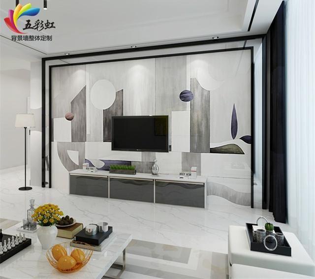 2,北欧简约风格微晶石电视背景墙搭配双石线边框装修效果