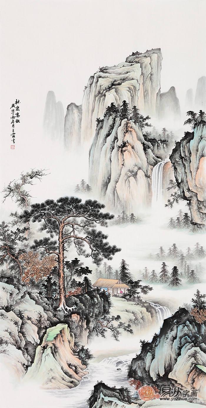 王宁四尺竖幅仿古山水画《林泉高致》图片