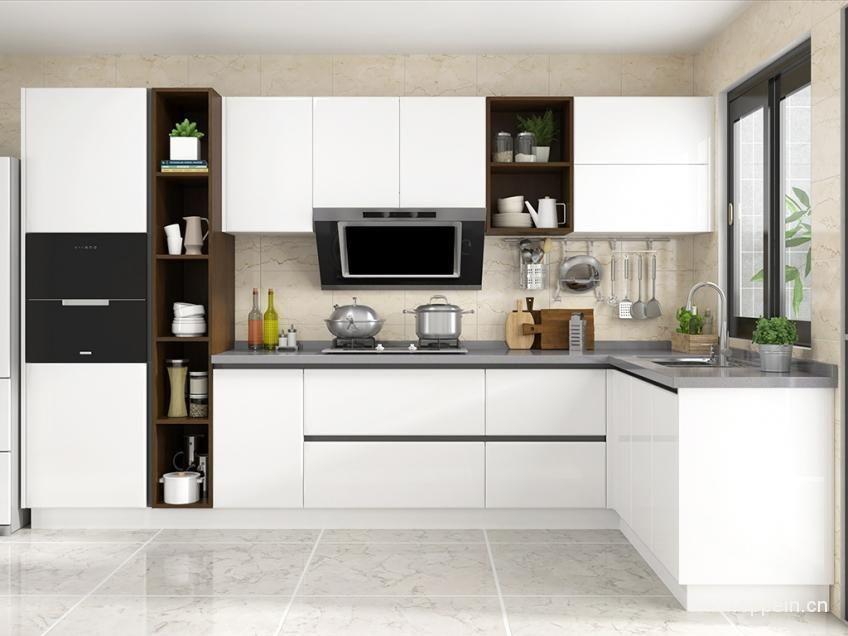 廚房設計簡單大方,一字型布局,包梁避柱,地柜和吊柜儲物空間豐富,墻面