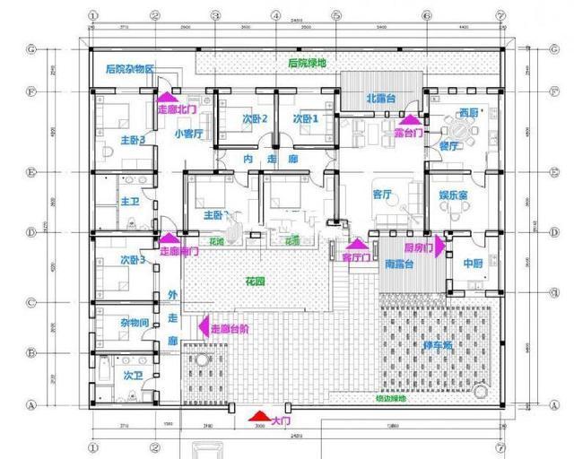 2,卫生间在西南角;3,厨房在东南角;4,正房比东厢房高,东厢房比西厢房