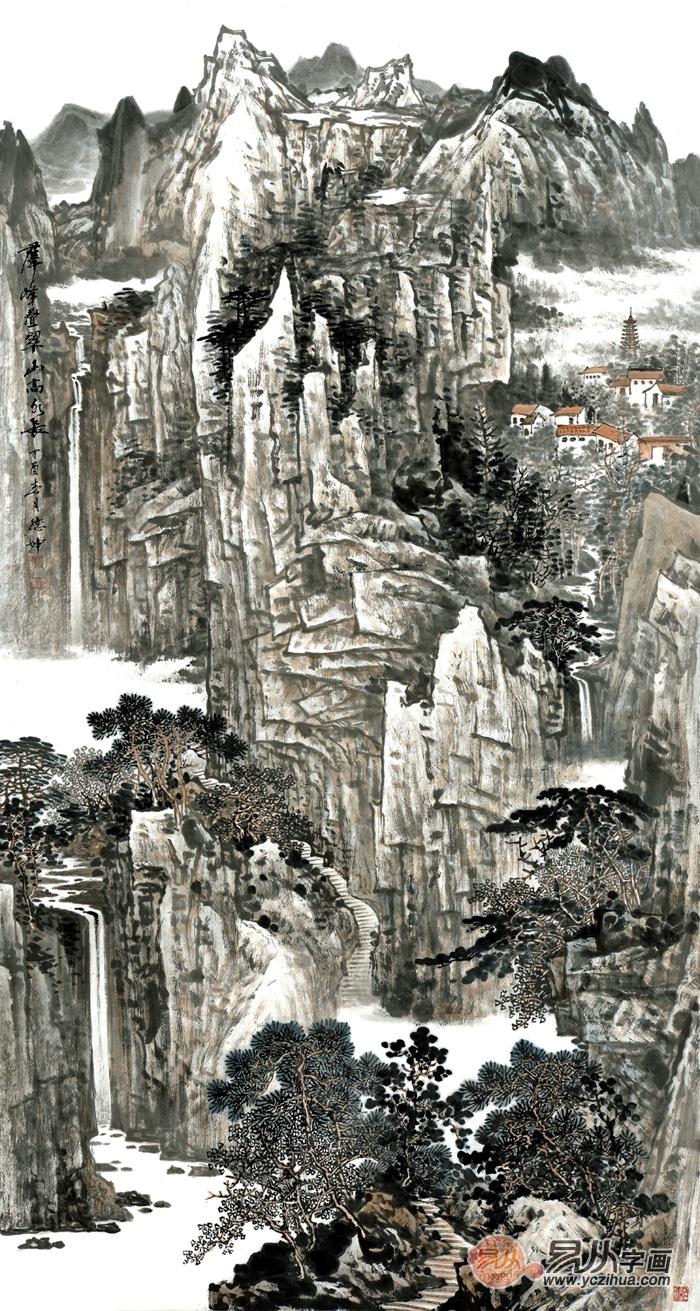 國畫名家林德坤豎幅寫意山水畫藝術 仁者樂山 智者樂水